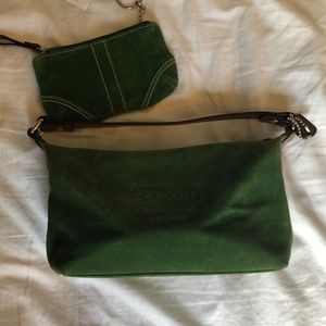 Green suede coach mini bag with change purse